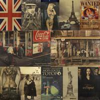 gazete kağıdı toptan satış-Yurt Ev Dekor Posterler Kraft Kağıt Duvar Çıkartmaları Çubuğu Gazete Dekoratif Duvar Kağıdı Moda Farklı Desenler Ile Sıcak Satış 1hh J1