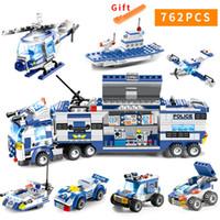 küçük oyuncak bloklar toptan satış-762 adet Şehir Polis Serisi Swat 8 In 1 Şehir Polis Kamyon Istasyonu Uyumlu Legoes Yapı Taşları Küçük Tuğla Oyuncak Çocuklar Için MX190820