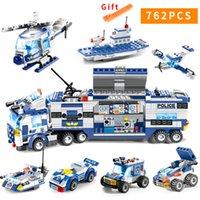 juguetes camión de la policía al por mayor-762pcs City Police Series Swat 8 en 1 City Police Truck Station Compatible Legoes Building Blocks Ladrillos pequeños Juguete para niñosMX190820
