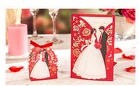 decorações para convites do casamento venda por atacado-1 conjunto de Luxo Vermelho Flora Convites de Casamento Cartão de Noiva Elegante e Cartão de Convite Do Noivo Favor Envelopes Decoração de Festa de Casamento