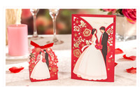 kırmızı zarf davetiyeleri toptan satış-1 takım Kırmızı Lüks Flora Düğün Davetiyeleri Kart Zarif Gelin ve Damat Davetiye Kartı Favor Zarflar Düğün Parti Dekorasyon