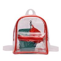 ingrosso borsa dello zaino di stile coreano-Coreano stile trasparente Mini zaino donne carino pvc gelatina borse moda piccola Bookbags per Teen Girl carino trasparente borsa zainetto