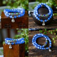 bolso azul de gato al por mayor-8 cuentas pendientes joyas de cristal azul del gato de ojos Mm Dos Círculo pulsera de ajuste de Blue Cat Pipe Ojos + monedero del Fondo Mujer Fresca pulseras al por mayor color de la mezcla