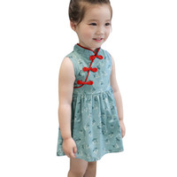 шелковые шифоновые платья для девочек оптовых-Малыш девочки дети цветы Cheongsam цветочные партии Принцесса платья китайский стиль шифон шелк Красный край античность платье