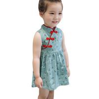 çince cheongsam çocuklar toptan satış-Toddler Bebek Kız Çocuk Çiçekler Cheongsam Çiçek Parti Prenses Elbiseler Çin tarzı Şifon Ipek Kırmızı kenar antik Elbise