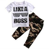 çocuklar kıyafetler toptan satış-Pudcoco Stok Yürüyor Çocuk Boys Giyim Seti T-shirt Tee Tops + Uzun Kamuflaj Pantolon 2 ADET Kıyafetler Sıcak