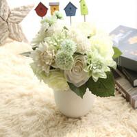ingrosso fiori dahlia-Dalia artificiale Simulazione Seta Dahlia Ibrido Decorazione di nozze Fake Dalie Bridal Flower Bouquets Decorazione Home Decor
