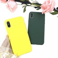 iphone için sevimli çift durumlarda toptan satış-2019 ÜST LACK Katı Renk Silikon Çiftler Kılıfları iphone Için XR X XS Max 6 6 S 7 8 Artı Sevimli Şeker Renk Yumuşak Basit Moda