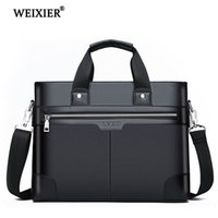 ingrosso cartella documenti-A spalla in pelle WEIXIER Men Fashion PU Borse Business Borse Bag Black Uomini Per Documento in pelle Laptop Bag Borse V191118