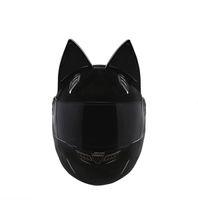 ingrosso caschi moto xxl-NTS-003 NITRINOS Casco da moto di marca integrale con orecchie di gatto Personalità Gatto Casco Moda Moto Casco taglia M / L / XL / XXL
