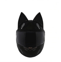 cascos moto xxl al por mayor-NTS-003 NITRINOS Marca casco de moto cara completa con orejas de gato Personalidad Casco de gato Moda Moto Casco talla M / L / XL / XXL