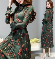 Wholesale bell skirts for sale - Group buy 2019 spring new floral chiffon dress female pleated long skirt long sleeve slim dress