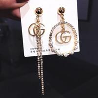 nadel für perle großhandel-Mode neue g brief asymmetrie ohrringe s925 silber nadel g ohrring modeschmuck baumeln perle kristall kreis quaste ohrringe