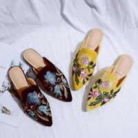 Wholesale sandals flipflops resale online - Embroider Flower Slippers Women Black Yellow Velvet Shoes Close Toe Low Heels Flipflops Ladies Brand Mules Slides Floral Sandals
