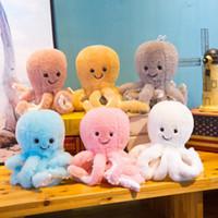 lindos juguetes de peluche al por mayor-Cartoon Cute Marine Organism Doll 22cm Peluches rellenos Seis colores Juguete en forma de pulpo para niños Adultos Favor de fiesta EEA427