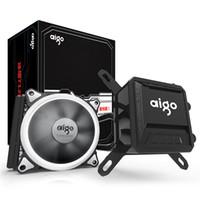 775 lüfter großhandel-Aigo Liquid CPU Kühler All-In-One Wasserkühlung 120mm PWM-Lüfter LED-Licht Desktop-Computergehäuse Kühler LGA 775 / 115x / AM2 / AM3 / AM4