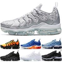 siyah ayakkabı işleri kadınlar toptan satış-Nike Air Vapormax TN Plus TN Artı Sneaker Erkek Kadın Koşu Ayakkabıları Günbatımı Üçlü Siyah beyaz Gümüş Desenler Oyunu Kraliyet Çalışma Mavi Hiper Menekşe Eğitmen Spor Sneaker