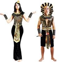 kleopatra cadılar bayramı kostümleri toptan satış-Antik Mısır Mısır Firavunu Kleopatra Prens Prenses Kostüm kadın erkek Cadılar Bayramı için Cosplay Kostüm Giyim mısır yetişkin