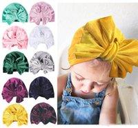 ingrosso beanie per bambini-11 colori Baby Gold Velluto Cappello indiano Bowknot Berretto musulmano Berretto Elastico Morbido Turbante Per bambini Testa avvolgente Moda Copricapo