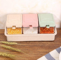Wholesale bamboo salt box for sale - Wheat Straw Renovate Three Style Taste Box Bring Scoop Kitchen Style Material Case To Flavor Bottle Crossing