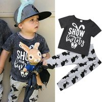 футболка для малышей оптовых-Emmababy Cotton Toddler Kid Baby Boy Easter Clothes T-Shirt Tops+Long Leggings Outfit Set