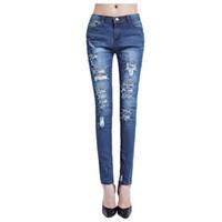 calça lycra mulher azul venda por atacado-Calças de ganga de algodão moda FS Hot mulher estiramento Womens Bleach rasgado jeans skinny, azul