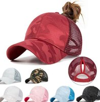 Wholesale breathable mesh ball cap for sale - Group buy Summer Ponytail Messy Bun Baseball Cap Hip Hop Camouflage Breathable Mesh Back Adjustable Snapback Hat colors LJJK2038