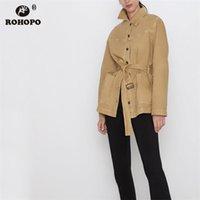 британские прямые куртки оптовых-Rohopo Woman Осень Прямой Хаки Ремень с Длинной Пиджаком Fly Fly Британская Академия Твердые Ветровки и Верхняя Одежда # 6135 SH190827 SH190828