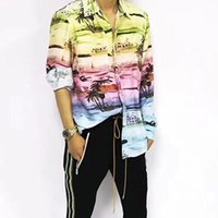 ingrosso seta giacca-19SS AM1R1 Cosmopolitan Rainbow Camicia maniche lunghe in seta T-SHIRT Giacca Vintage Cappotto Casual Protezione solare Street Outwear Giacca Tee HFYMCS011