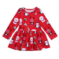 Wholesale american pageant girls resale online - Christmas Girl Clothes Toddler Baby Kids Girl Cartoon Printed Long Sleeve Dress Pageant Party Princess Dress