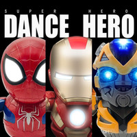 juguetes electronicos regalos al por mayor-Nuevos juguetes Dance Hero The Avengers Iron Man Spiderman Bumblebee Juguete de acción eléctrica con LED y música Regalo electrónico de cumpleaños para niños