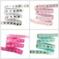 Wholesale valentine hair online - 5 quot Gold Foil heart printed Fold Over Elastics FOE for valentine s day yards roll welcome custom printed