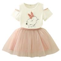 bunny tutu toptan satış-2 adet / grup Paskalya Bunny Set Bebek Kız Karikatür Tavşan Çiçek Kısa Kollu Üst + Inci Tutu Elbise Çocuk Giyim Suit