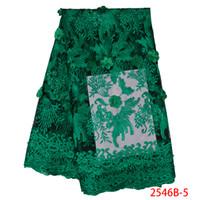 ingrosso fiori ricamati tessuti in pizzo-Tessuto di pizzo verde africano vendita Nigeria tessuto di maglia per le donne Tessuto di nozze ricamo 3d fiori con perle APW2546B-5