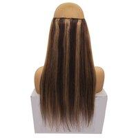 brazilian remy saç fiyatı toptan satış-Fabrika Whlolesale Fiyat Brezilyalı Remy Saç Hiçbir Klipler Flip Halo Saç Uzantıları Kolay Balık Hattı Görünmez Saç Dokuma