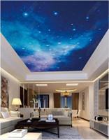fondo de pantalla del techo del cielo al por mayor-Personalizado Papel tapiz fotográfico 3D grande 3d murales de techo papel tapiz HD imagen grande soñadora hermosa estrella cielo cenit techo mural decoración