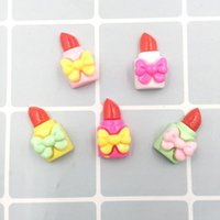 Wholesale kawaii lipstick for sale - Group buy 100Pcs Resin Kawaii Bow Lipstick Decoration Crafts Flatback Cabochon Scrapbooking For Phone Embellishments Diy Accessories