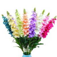 artificial flowers arrangements großhandel-Delphinium ajacis 36 '' Hoch Hochzeit Seidenblumen Hyazinthe Künstliche Blume Dekoration Vase Arrangement