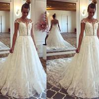 Wholesale princess dress nudes resale online - Sheer Neck Cap Sleeve A line Wedding Dress D Flower Illusion Back Beaded Sash Bridal Dress Lace Sweep Train Garden Wedding Gowns