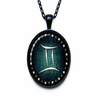 Wholesale zodiac pendants for men for sale - Group buy Boho Silver Constellations Zodiac Gemini Time Gem Glass Cabochon Charm Pendant Necklace for Women Men Long Link Chain Choker Jewelry Gift
