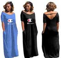 bir uzun kollu mini elbise toptan satış-Kadın Şampiyonlar Mektup Uzun Elbise Yaz Etek Tek Parça Elbise Kısa Kollu Tasarımcı Maxi elbiseler Yüksek Kalite Gevşek Elbise Zarif Clubwear