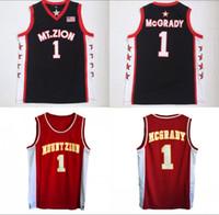 okul spor üniformaları toptan satış-Ucuz Lisesi Tracy 1 McGrady Forması Erkekler Basketbol Koleji Wildcats Mountzion Formalar McGrady Üniformaları Spor Hayranları Için Nefes Satış