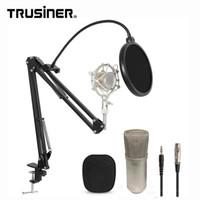 стоит оптовых-Оптовая BM700 студия записи конденсаторный микрофон микрофон с подвеской стенд шок крепление и поп-фильтр для портативных ПК k2691