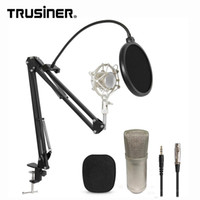 Wholesale microphone suspension for sale - Group buy BM700 Studio Recording Condenser Mic Microphone with Suspension Arm Stand Shock Mount and Pop Filter for PC Laptop Computer k2691