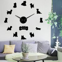 pared de relojes de animales al por mayor-Raza West Highland Terrier perro de Westie largo reloj de pared del reloj de la mano de DIY 3D del perrito Animal auto adhesivo acrílico Big Time reloj de reloj T200104
