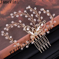 Wholesale beaded hair tiaras for sale - Group buy JaneVini Crystal Headband Wedding Gold Hair Accessories Beaded Bride Hair Combs Jewelry Metal Headpiece Tiara Acsesorios Mujer
