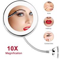LED Makeup Vanity Mirror 10X Magnifying Flexible Make up Mirror Light Cosmetic Mirrors espejo de maquillaje VIP Dropshipping Y200114