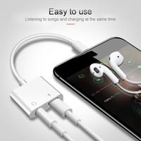 kulaklık kulaklık splitter adaptörü kablo jakı toptan satış-2 in 1 Adaptörü konnektör 3.5mm Aux Jack Kulaklık Kulaklık Ses Splitter Beyaz Kablo iphone 4 XS Max XR Için Müzik Şarj