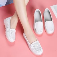Wholesale nursing shoes summer resale online - Soft Leather Women s Shoes Round Toe Tennis Female Casual Sneaker Flats Genuine Leather Small Breathable Nurse Summer Dress PU