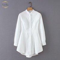 ingrosso le camicie delle signore-Elegante camicetta delle donne del collare del basamento irregolare pieghe Bianco Blusas camice casuali Office Lady affari Feminina Chic Tops Ls2766